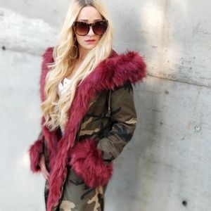 """THE """"IT"""" COAT Fur Trimmed Hooded Camo Jacket Fall"""